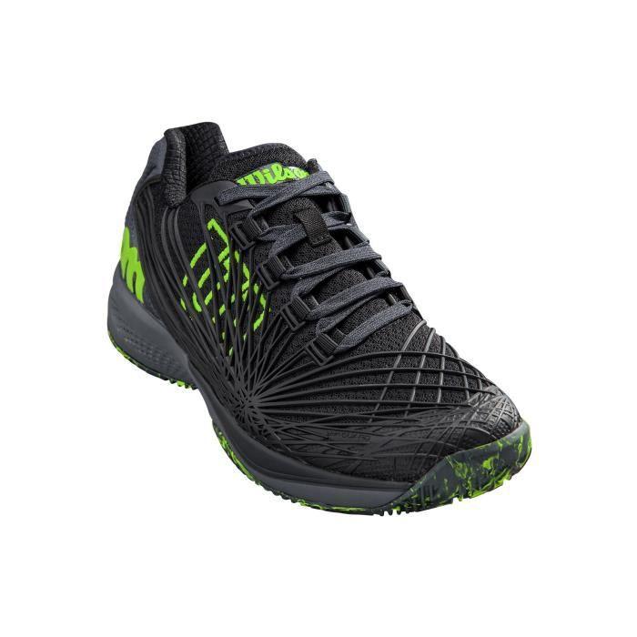 Chaussures WILSON Homme Kaos 2.0 Clay Court Terre Battue Noir / Vert PE 2019