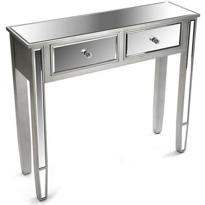 Console argentée avec 2 tiroirs miroir - L 90 x l 26 x H 80 cm