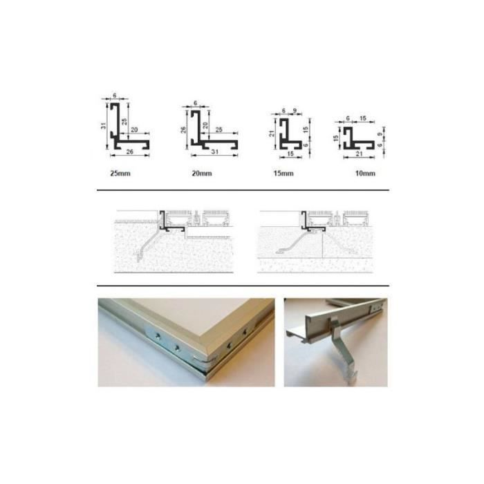 VER-ALU - Cadre de paillasson en aluminium multi - 900 x 600 mm 21 mm