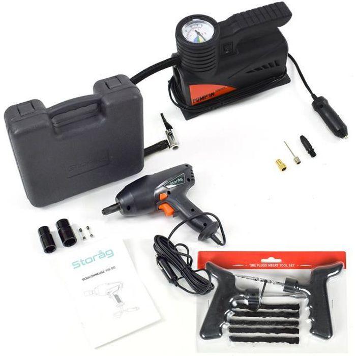 Kit réparation pneus auto : mini-compresseur et clé à choc 12V avec set de répartion tubeless