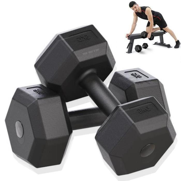 TD® 2pcs 5kg Équipement de fitness à domicile pour entraîneur de bras pour hommes d'haltères hexagonaux haltères musculation