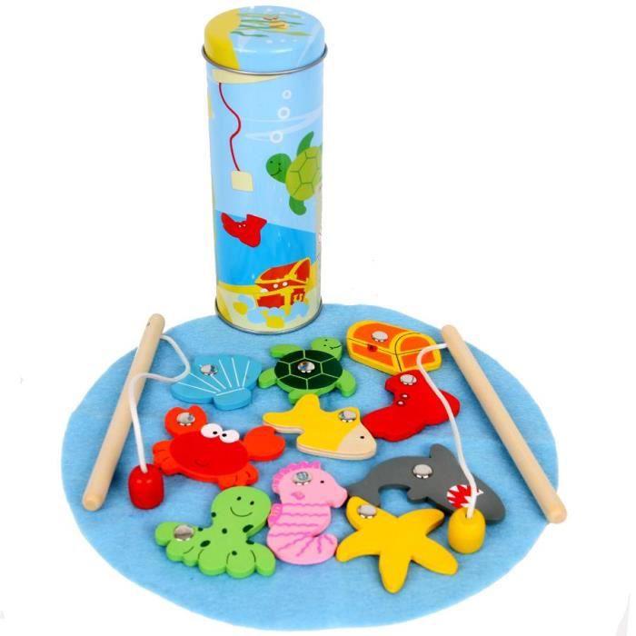 jeu de pêche magnétique boite metal cylindrique Enfants 4 ans +