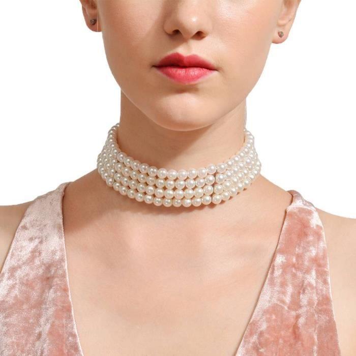 collier femme ras du cou perle