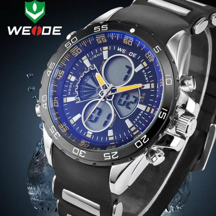 livraison gratuite weide quartz hommes sport watch multiple fuseau horaire analogique lcd. Black Bedroom Furniture Sets. Home Design Ideas
