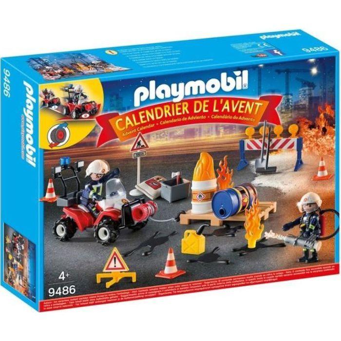 Calendrier De L Avent Playmobil Pas Cher.Playmobil 9486 Calendrier De L Avent Pompiers Incendie Chantier Nouveaute 2019