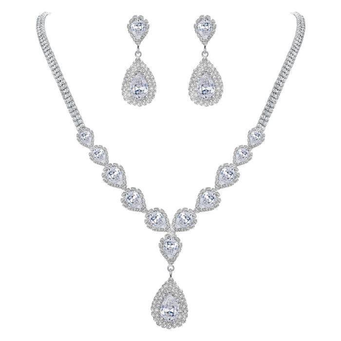 Femme Cristal Strass Diamant Collier Pendentif Boucles D/'oreilles Bijoux Set