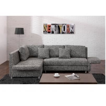 canap d 39 angle convertible tissu kikaya gris chin achat vente canap sofa divan. Black Bedroom Furniture Sets. Home Design Ideas