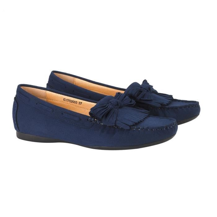 Tassel Suede Penny Mocassins pour les femmes: Bow Noeud Slip-on Driving Mocassins Boat Walking Flats TALY3 Taille-40