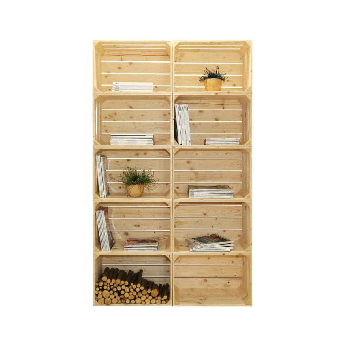 biblioth que 10s kit pr t assembler caisses en bois x10 fabriqu e main en france. Black Bedroom Furniture Sets. Home Design Ideas