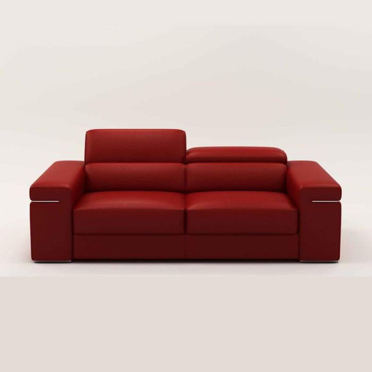 Changer La Couleur D Un Canapé En Cuir canape 3 places en cuir rouge billy - achat / vente canapé