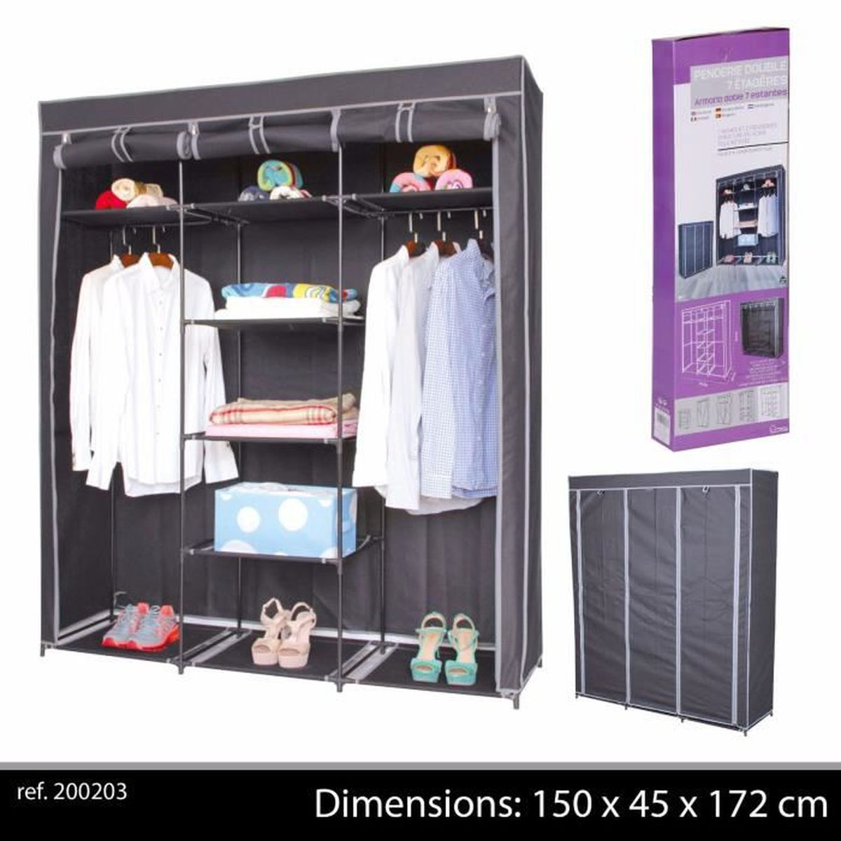 grande penderie etagere armoire de rangement de vetement placard de chambre portant achat. Black Bedroom Furniture Sets. Home Design Ideas
