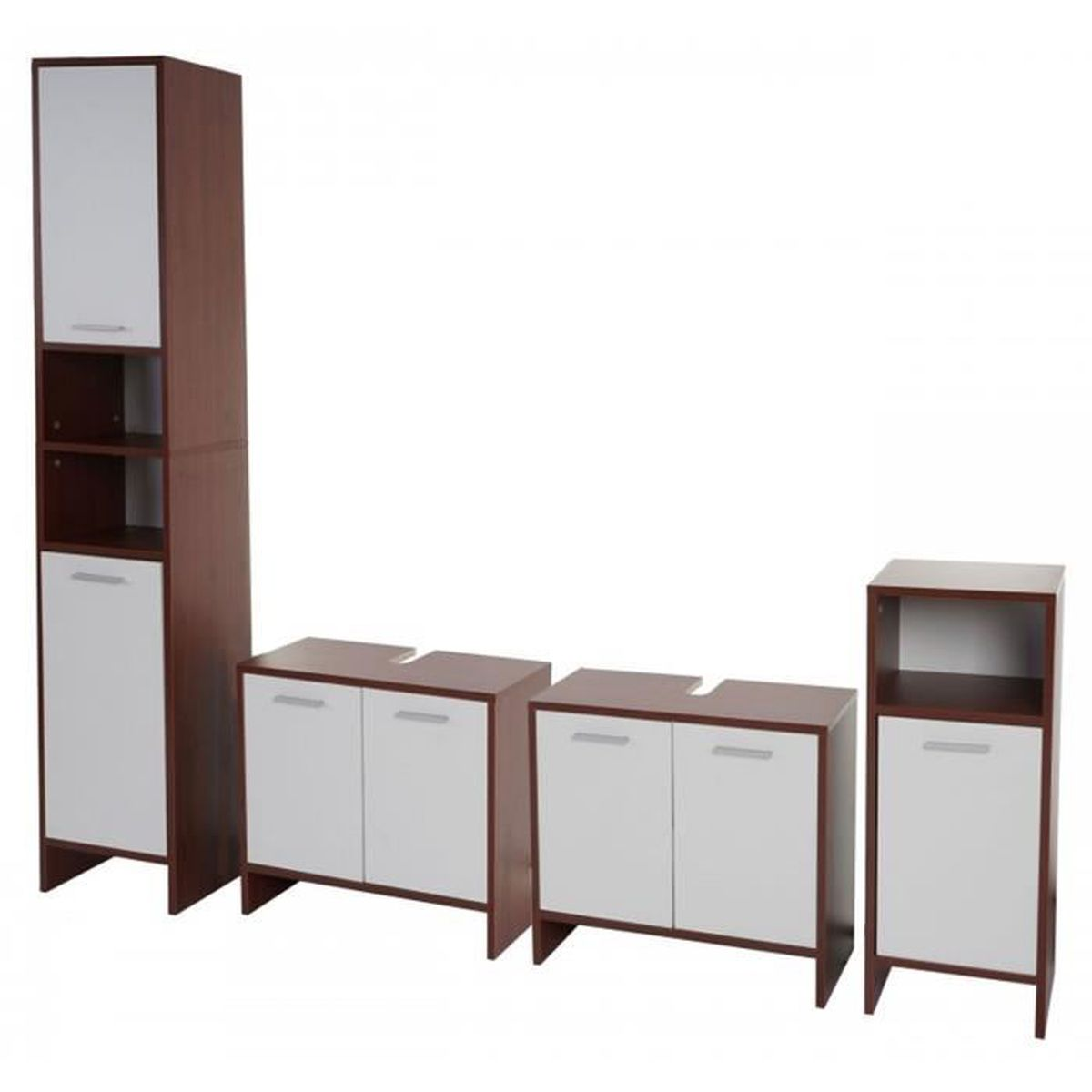 ensemble de salle de bain en bois coloris brun et blanc. Black Bedroom Furniture Sets. Home Design Ideas