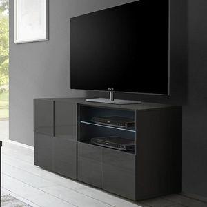 MEUBLE TV Petit meuble tv design gris laqué SANDREA 2