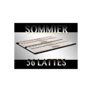 SOMMIER Sommier à lattes 200x200 Résistant acier et bois F