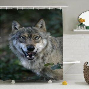 """Tiger Animal Design en Noir Rideau de douche Set Tissu Imperméable 71/"""" avec crochets"""