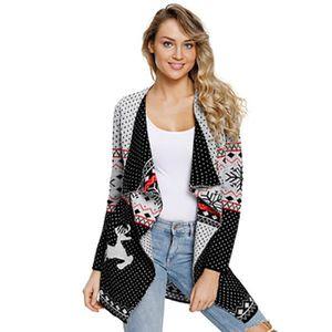 Femme Femmes Owl Imprimer tricot Pull à Manches Longues Ouvert Cardigan Grande Taille 8 26