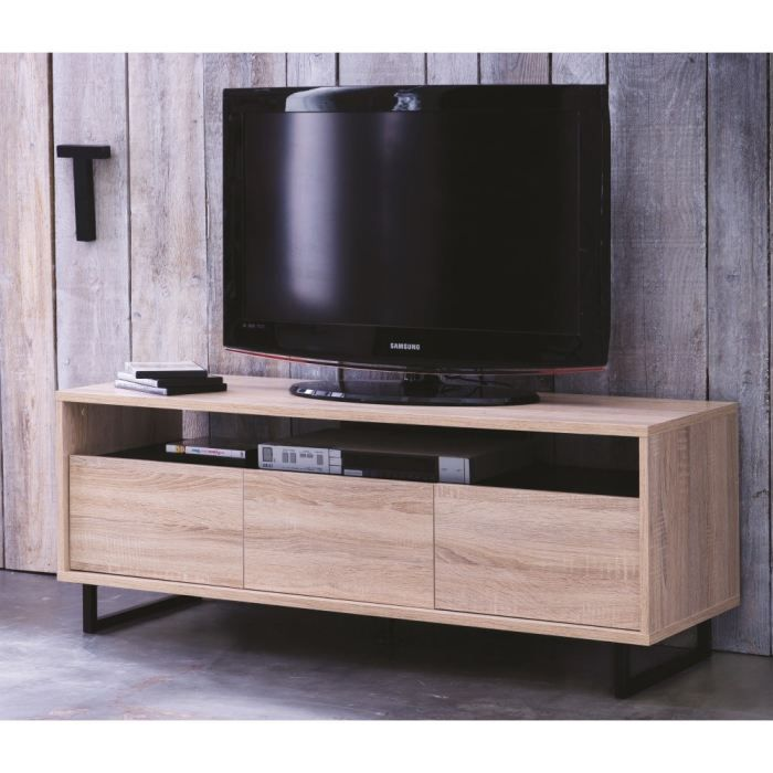 factory meuble tv 123 cm ch ne bross noir achat vente meuble tv factory meuble tv 123 cm. Black Bedroom Furniture Sets. Home Design Ideas
