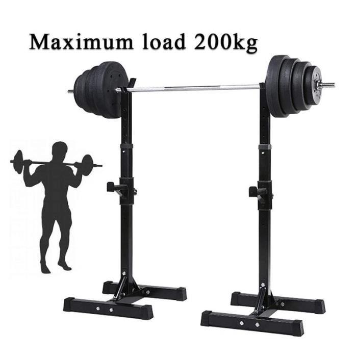Squat Support de Squat Réglable Squat Rack pour haltères allant jusqu'à 200 kg avec Barre de Support