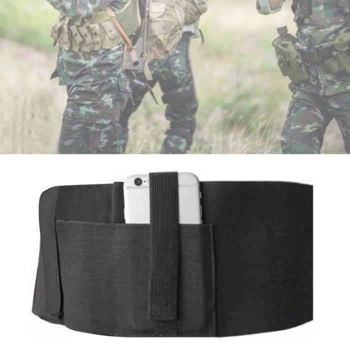 Ceinture de taille multifonction Invisibilité élastique noire compacte double étui de sport portable-JIA