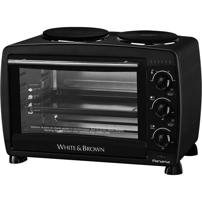 WHITE & BROWN MF 286-Mini four avec plaques de cuisson électriques sur le dessus-26 L-1500 W-Voûte sole et convection-Noir