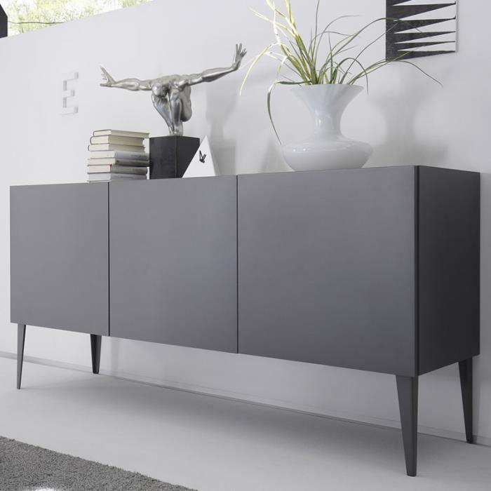 Buffet design gris laqué mat 3 portes VALERONA