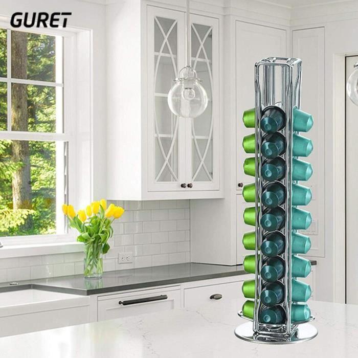 GURET – présentoir de capsules de NESPRESSO, 40 tasses de café, présentoir rotatif en acier inoxydable, outil de café [7B61352]
