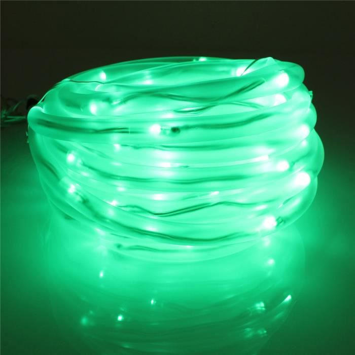10M 100 LED Guirlande Lumineuse Solaire Corde Tube Etanche Fée Band Jardin Noël Fête Vert