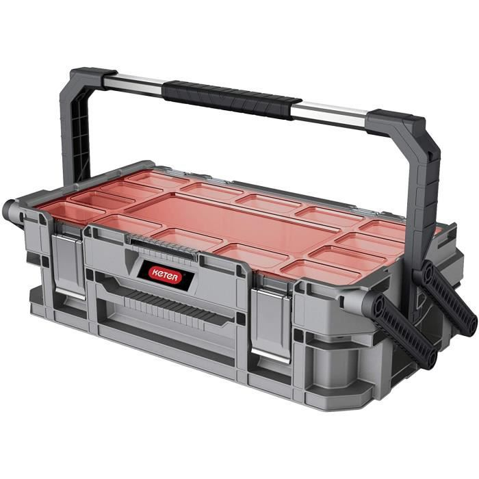 KETER Cantilever Connect Boîte à Outils Grande Caisse à Outils 2 Niveaux pour Ranger vos Outils Support 2 Pieds 11 Compartime 184