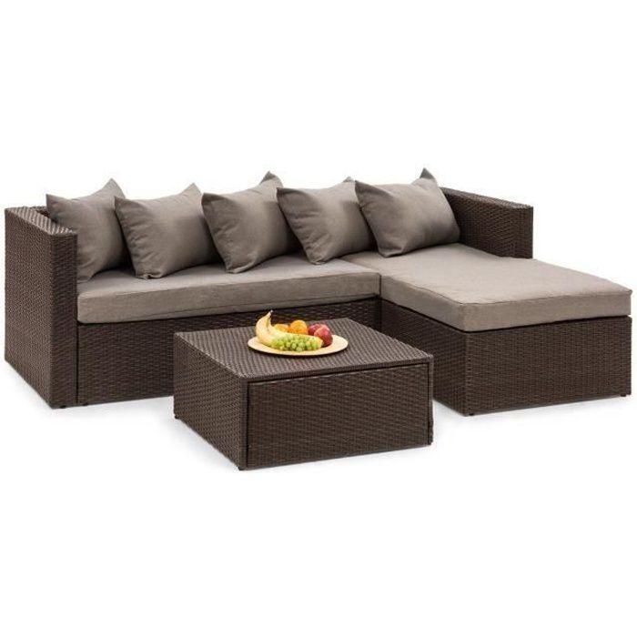 Blumfeldt Theia Lounge Salon de jardin 5 places résine tressée - canapé, table basse , coussins & housses marron - polyrotin marron