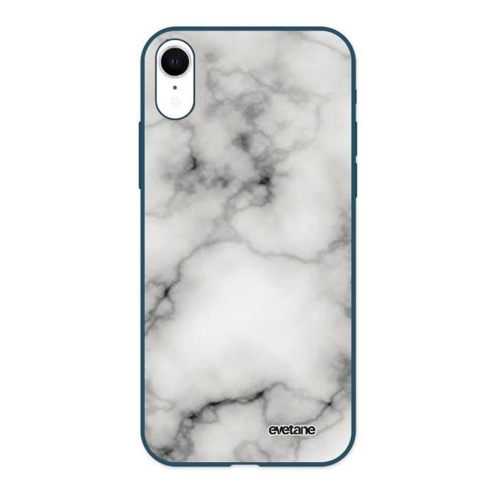 Coque pour iPhone Xr Silicone Liquide Douce bleu marine Marbre blanc Ecriture Tendance et Design Evetane