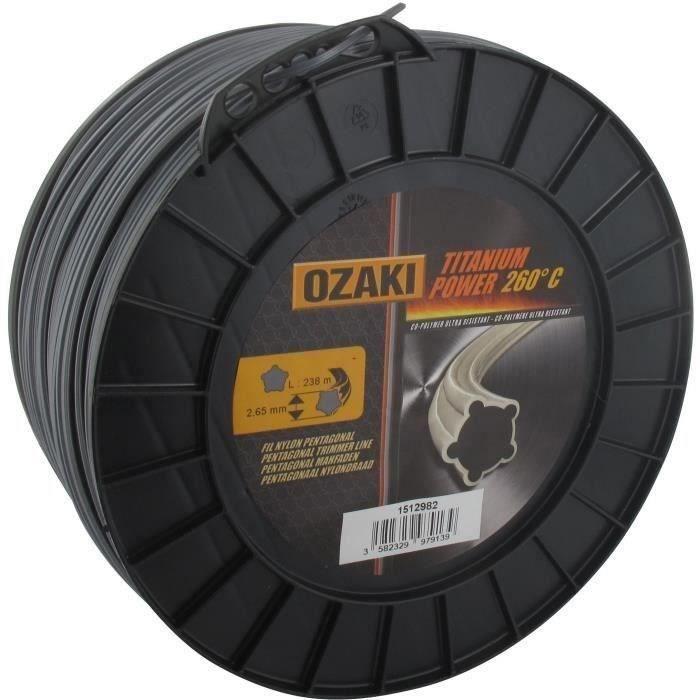Bobine fil OZAKI TITANIUM POWER 2,7mm X 238m Profil pentagonal, co-polymère haute résistance