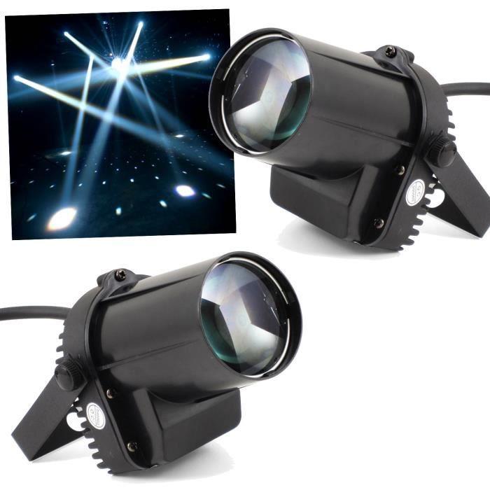 2 Jeux de lumières Projecteurs à LED PINSPOT Blanc de 5W pour Dj's ou Déco