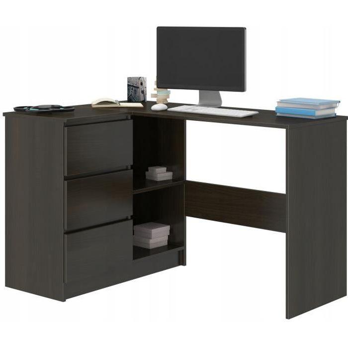 KIAN W - Bureau d'angle + rangements + 3 tiroirs - 112x87x76cm - Table d'ordinateur forme de L - Table de travail - Wengé