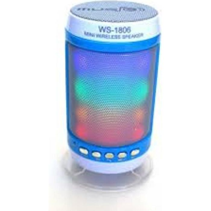enceinte bluetooth radio FM bleu et blanc