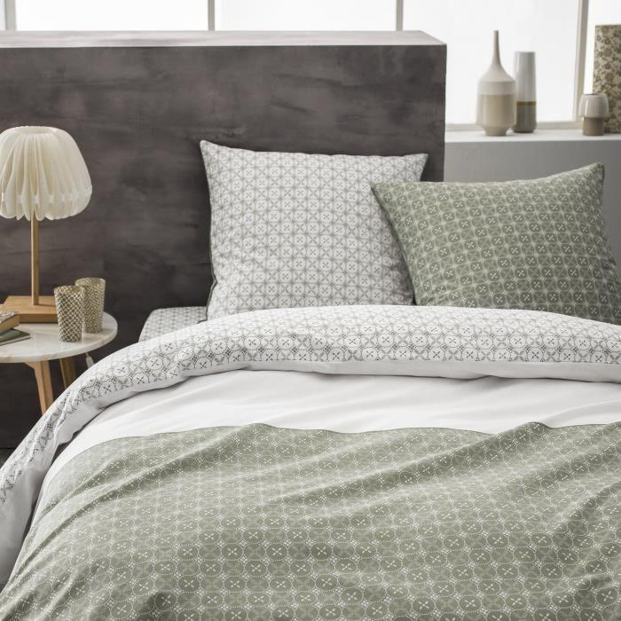 Parure de lit en coton imprimé kaki - Taille: 200x200 cm - couleur : Kaki