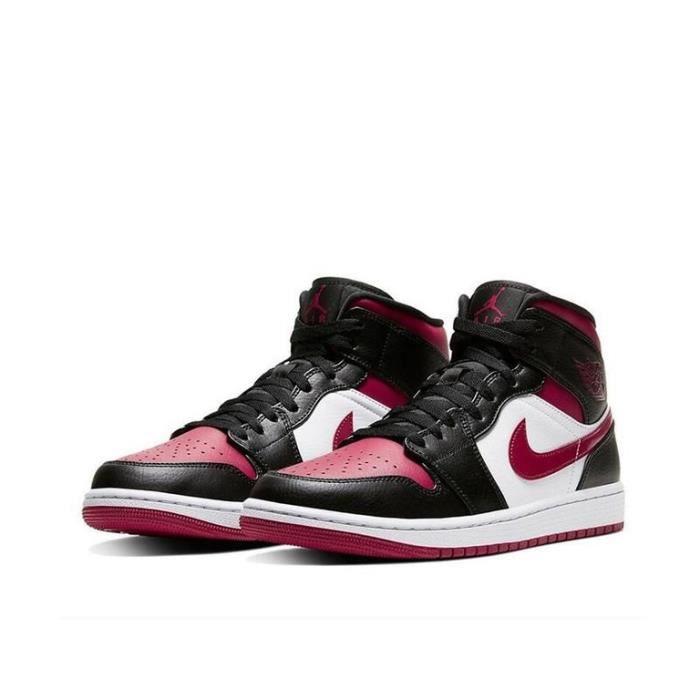 Air Jordan 1 Mid Chaussures de Sport Basket AJ 1 Pas Cher pour Homme Rouge