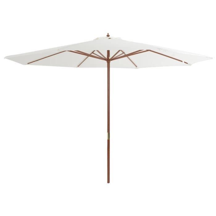Magnifique-Parasol de Jardin Terrasse Imperméable avec mat en bois 350 cm Blanc sable