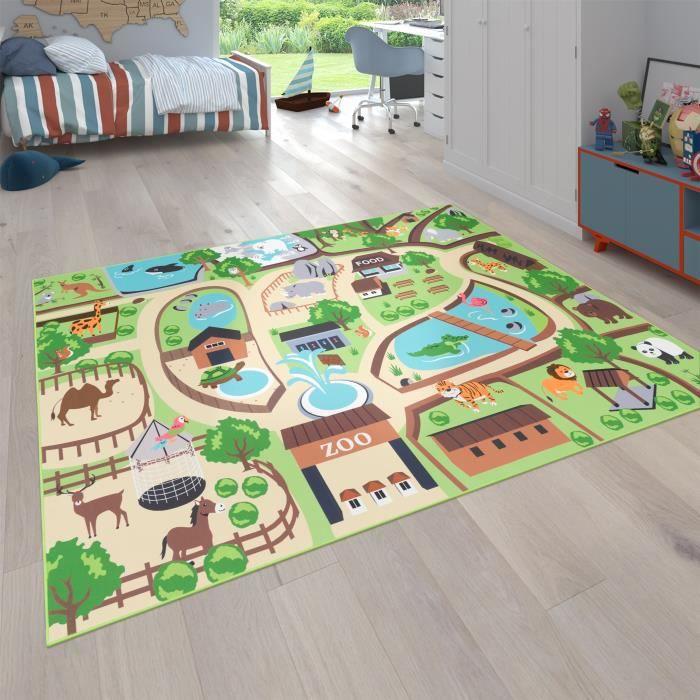 Tapis pour enfants, tapis de jeu pour chambres d'enfants, zoo avec tigre, ours, lion, coloré [80x150 cm]