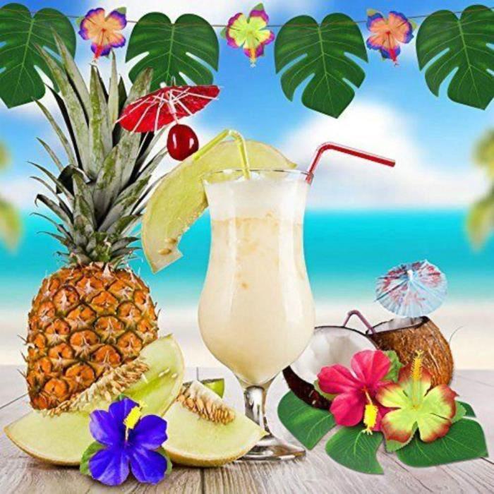 20pcs Tropical Jungle Plante Artificielle de Palmier Feuilles de Palmier Tropicales et Fleur Hawaïenne Artificielle de S