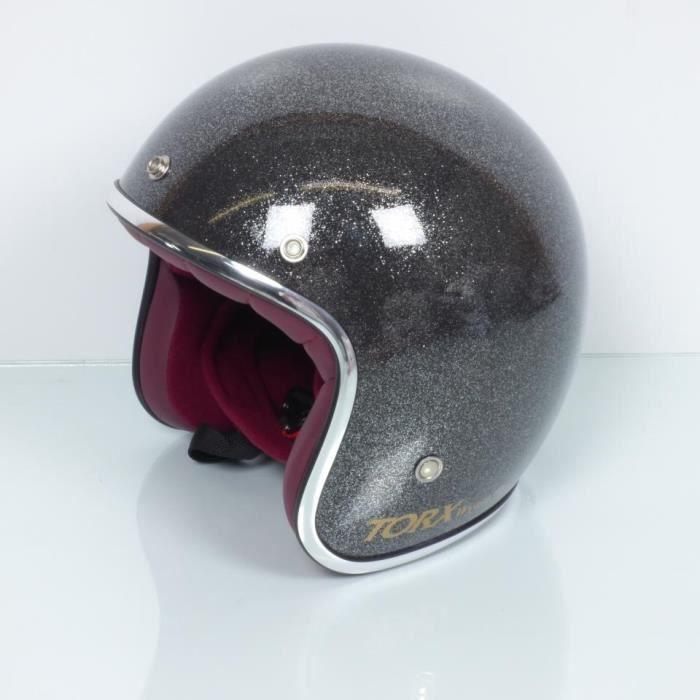 Casque jet bol Torx Wyatt glitter gris anthracite moto vintage Taille XL Neuf