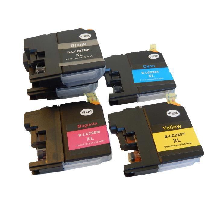 vhbw cartouches d'imprimante encre d'impression Set avec Chip pour Brother DCP J4120 DW comme LC227XLBK, LC225XLC, LC225XLM,