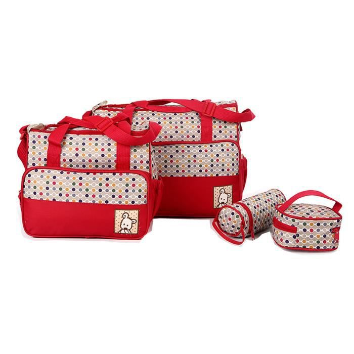 Bag 5pcs Tote Pad Red In Large Mummy Travel Sac Nappy Baby Changing Capacity Multifunction À Main 1 Diaper Set zpFq1z