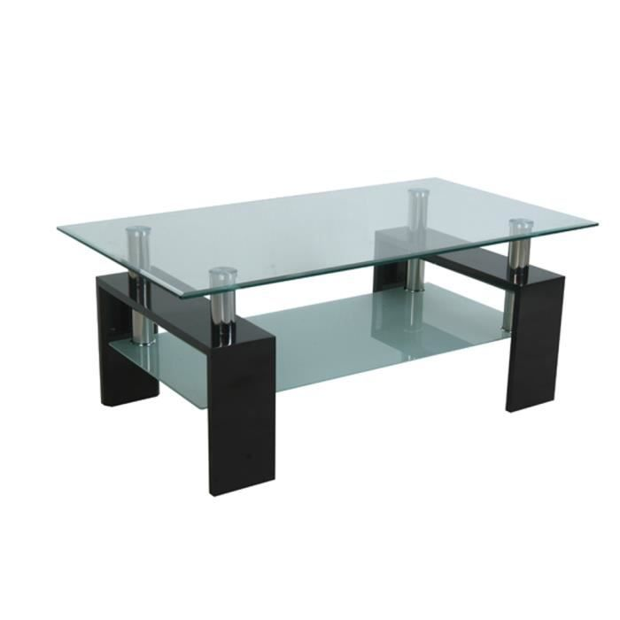 Table basse rectangulaire laqu e en verre achat vente table basse table b - Table basse en verre rectangulaire ...