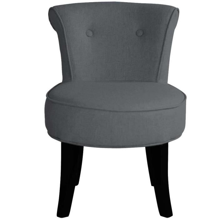 petit fauteuil crapaud lin anthracite louis achat vente fauteuil gris cdiscount. Black Bedroom Furniture Sets. Home Design Ideas