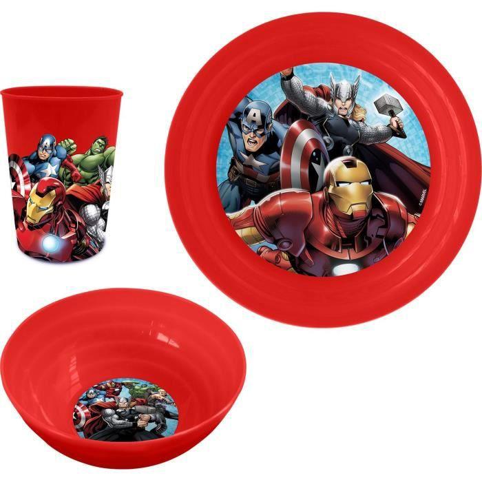 GUIZMAX Assiette Plastique Plate Les Avengers Repas Enfant Rouge