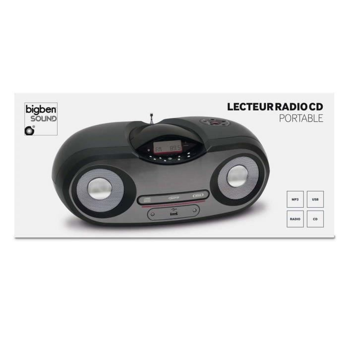 lecteur cd radio mp3 usb portable noir et gris radio cd. Black Bedroom Furniture Sets. Home Design Ideas