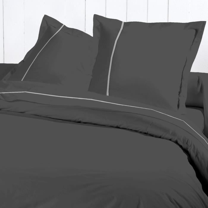 david olivier housse de couette 220x240 cm percale de coton gris achat vente parure de. Black Bedroom Furniture Sets. Home Design Ideas