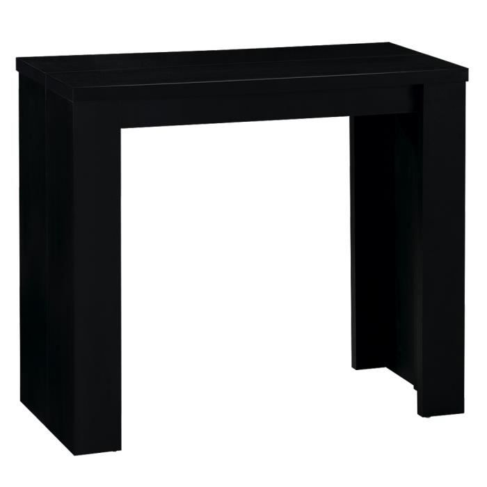 console extensible pas cher 3 rallonges noire prisca. Black Bedroom Furniture Sets. Home Design Ideas
