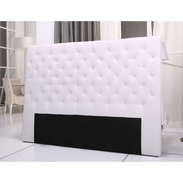tete de lit capitonnee king 160 180cm pu blanc achat. Black Bedroom Furniture Sets. Home Design Ideas