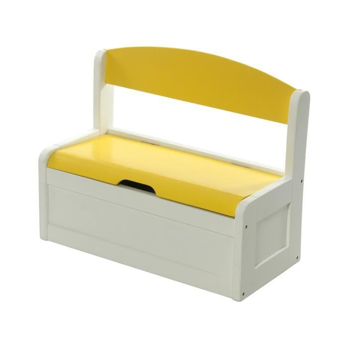 banc et bacs de rangement enfant jaune en bois fabio momo. Black Bedroom Furniture Sets. Home Design Ideas